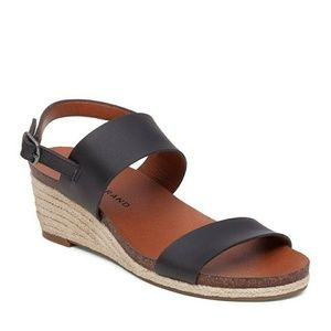 Lucky Brand Jette Black Leather w Hemp Wedge - 9.5